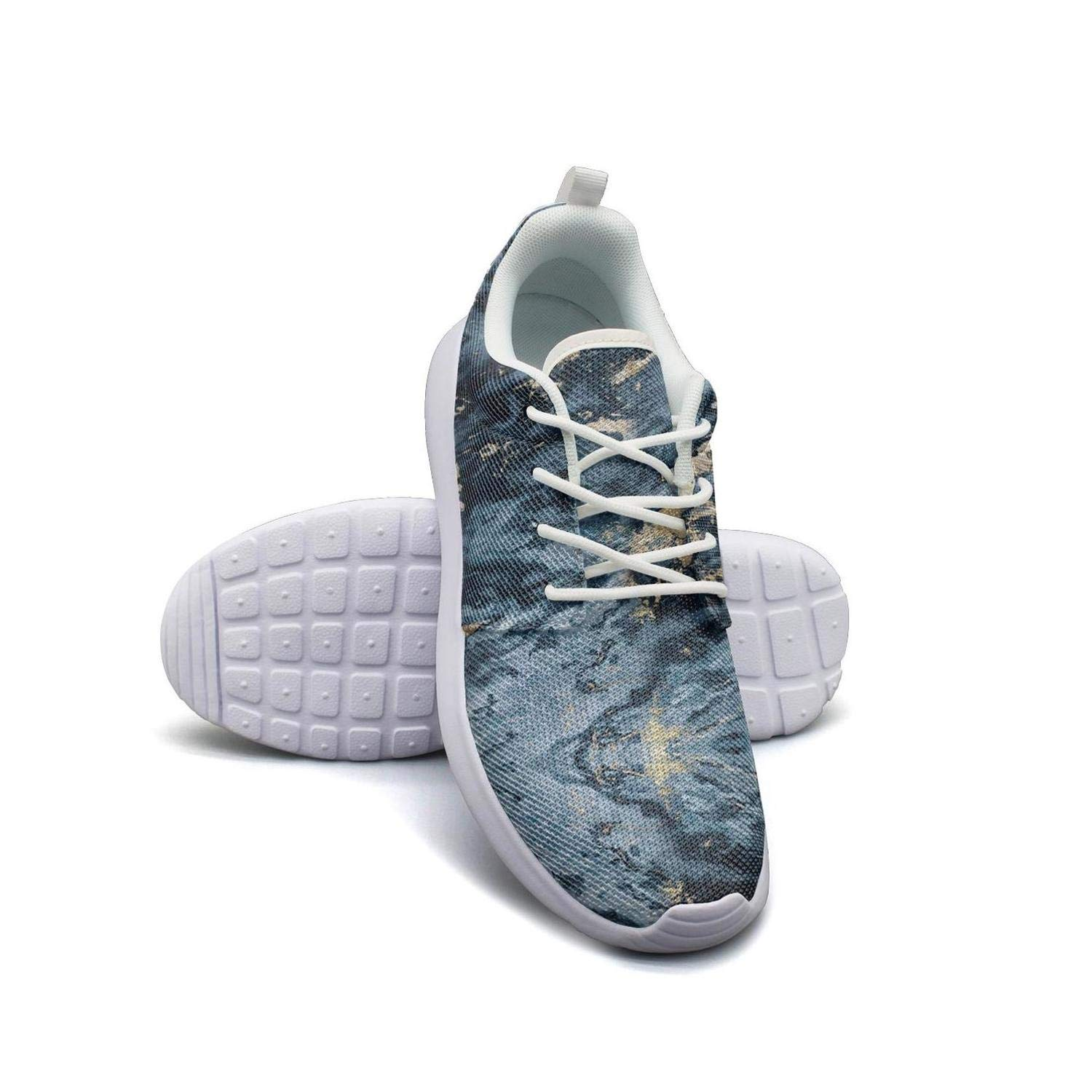 White Marble Abstract Texture Pattern Running Shoes Lightweight for Men Sneaker Sport Soft Sole Shoes