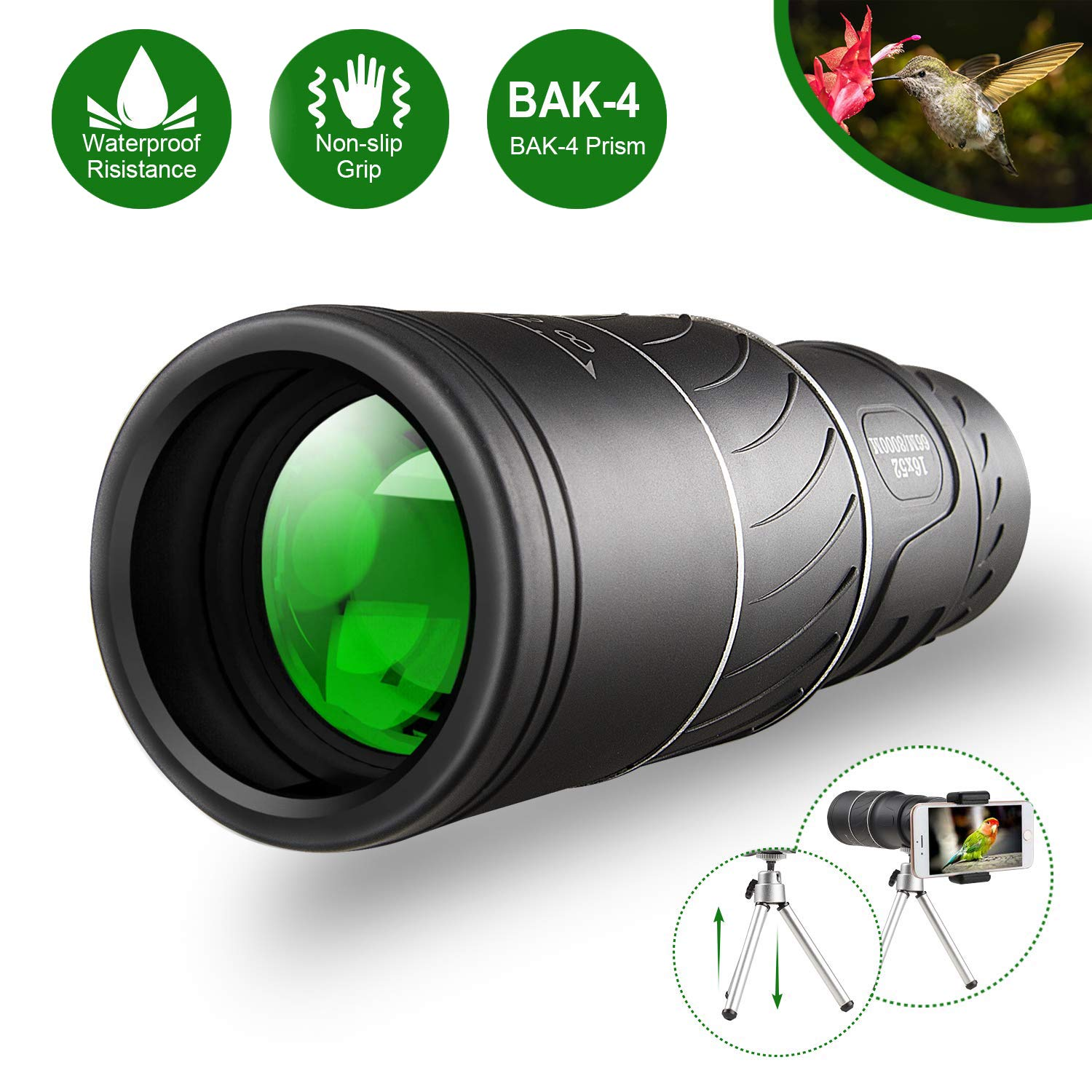 Monocular Telescope,16x52 Monocular Dual Focus Optics Zoom Telescope, Day & Low Night Vision- [Upgrade]Waterproof Monocular with Durable and Clear FMC BAK4 Prism Dual Focus for Bird Watching, Camping by Feeke