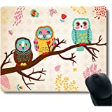 Three Owls on Tree Unique Design Computer Optical PC Mouse Pad