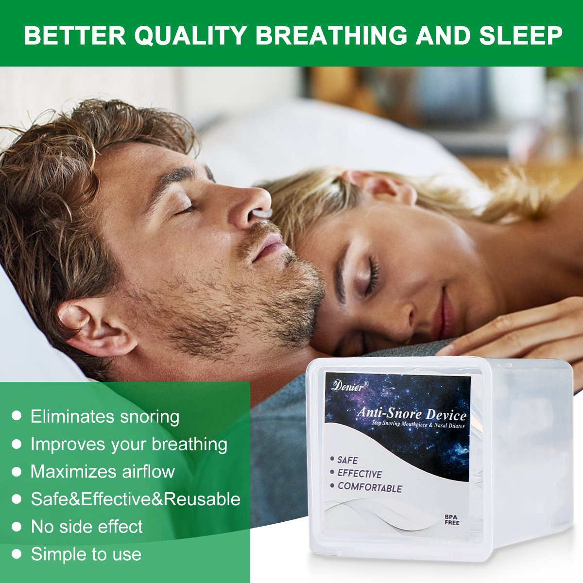 Anti Snoring Devices Tongue, 4 Set Snore Stopper Nose Vents Nasal Dilators Stop Snoring Solution Snoring Mouthpiece Sleep Aid Device Snore Reduction Silicone Snoring Tongue Retainer for Men Women by Donier (Image #3)