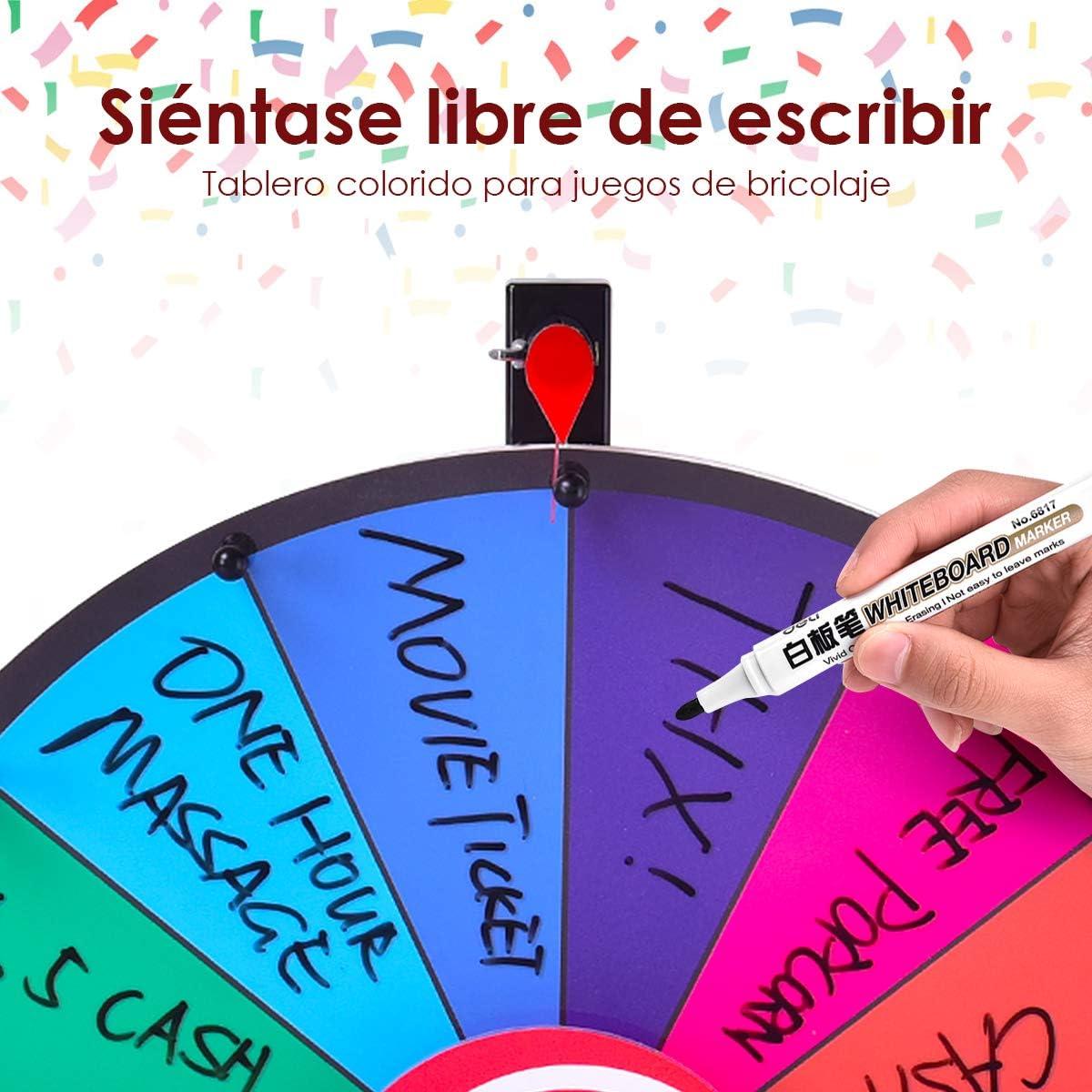 COSTWAY Ruleta de la Suerte Juego de Mesa con Soporte Puede Escribir y Limpiar con Pluma Borrable para Boda Fiesta Juguete Rueda (24 Pulgadas): Amazon.es: Juguetes y juegos