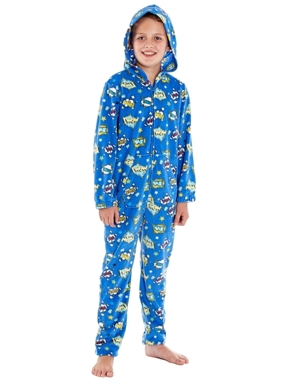 2497e0cf Pijama de una pieza, unisex con capucha, estampado de cómics, con forro  polar