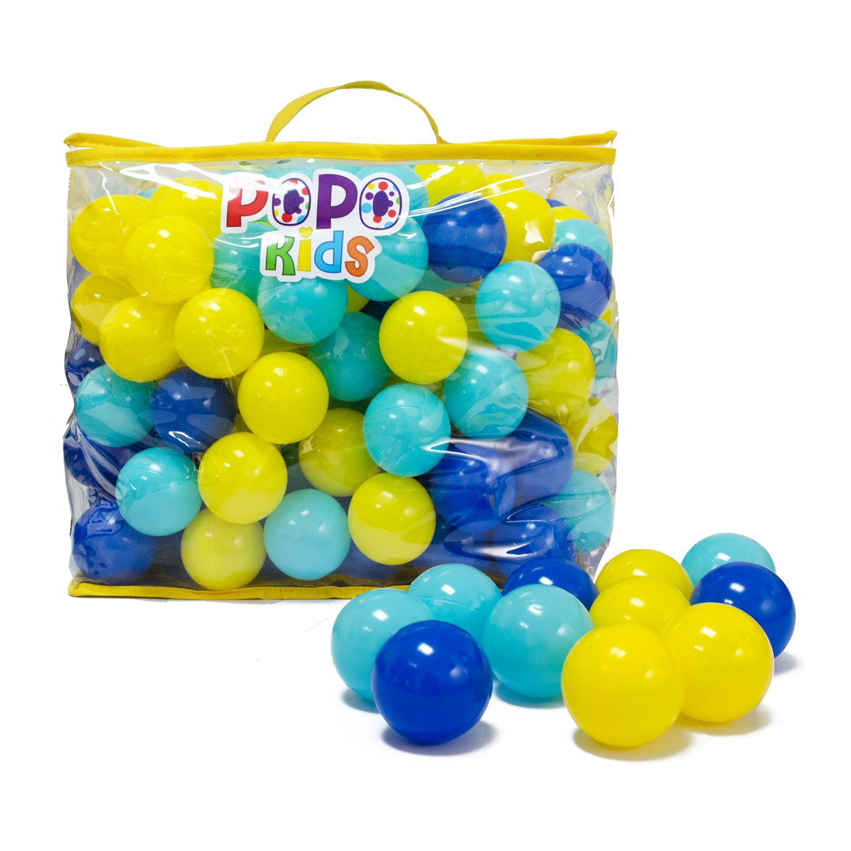 PoPo Kids Pack of 200 Balls, Phthalate Free BPA Free, Crush Proof Plastic Ball, Pit Balls, Durable Storage Mesh Bag with Zipper (PoPoStar)