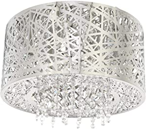 Home Decorators Collection 15.75 in. 7-Light Stainless Steel Flush Mount with Laser Cut Mirrored Shade and Crystal