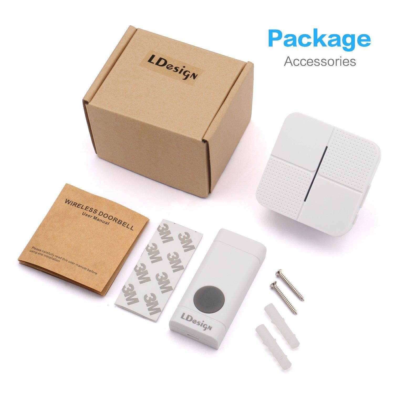 LDesign Wireless Doorbell Waterproof Door Bell Kit, Portable Door Chime with 1 Plug-in Receiver & 1 Push Button Transmitter, 1000 Feet Operating (Grey) DB-GR