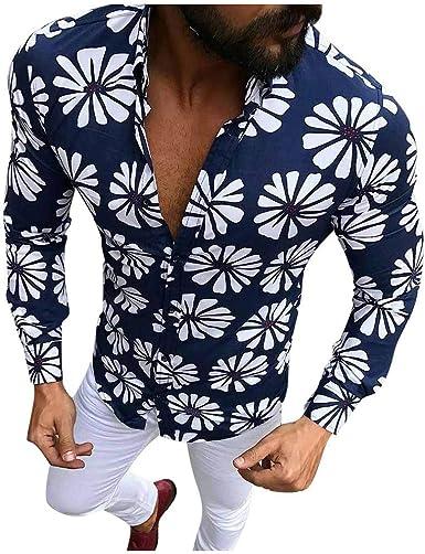 Dragon868_Camisas de hombres Camisas Hombres, Caballero Moda Casual Solapa Slim Fit Manga Larga Estampada Flores de Hawaiana Playa Ropa Hombre Verano Fiesta de Bodas CumpleañOs, M-XXXL: Amazon.es: Ropa y accesorios