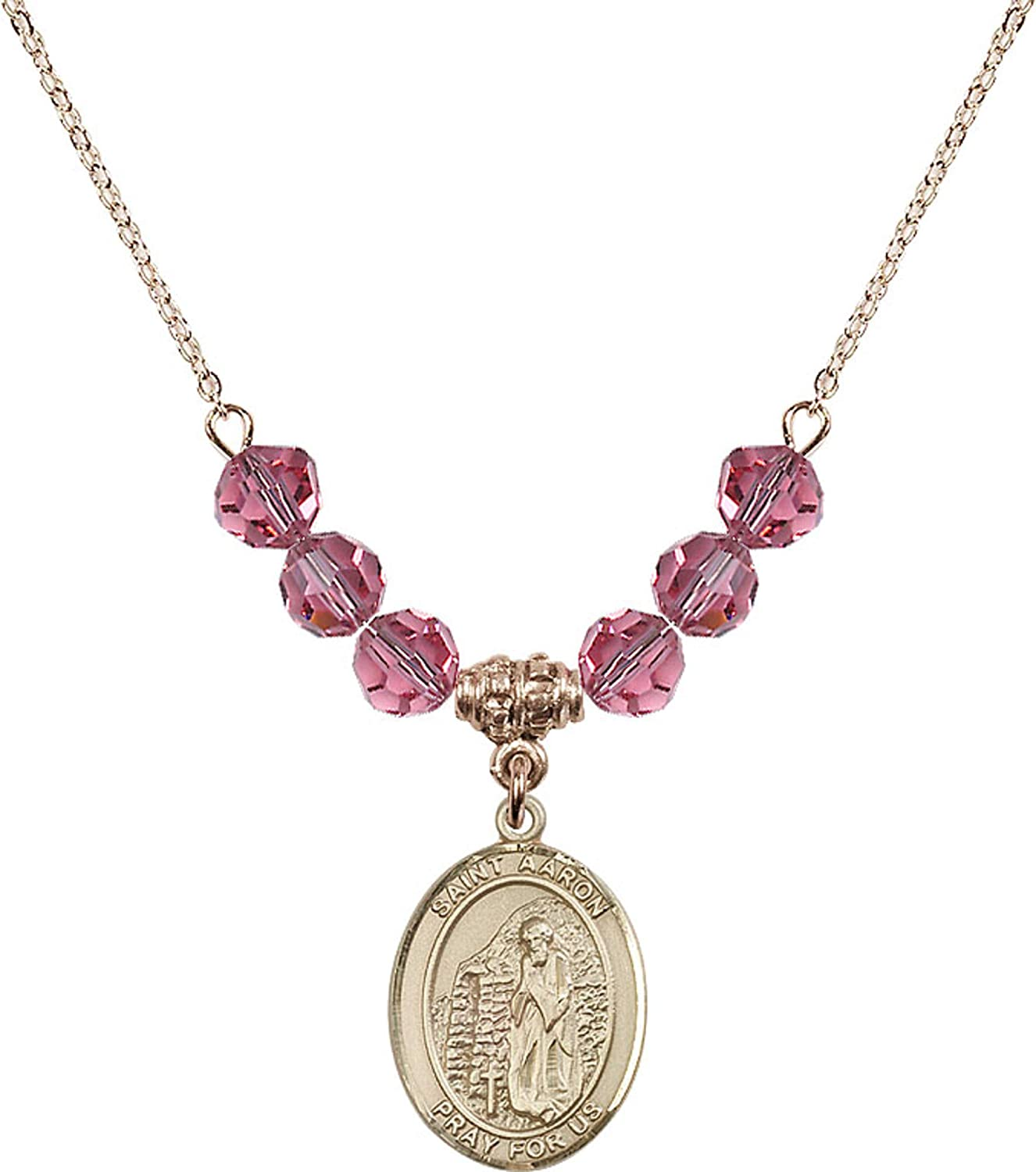 Bonyak Jewelry 18 Inch Hamilton Gold Plated Necklace w// 6mm Rose Pink October Birth Month Stone Beads and Saint Aaron Charm