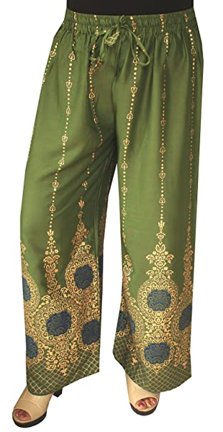 34638cc7eef Amazon.com  Womens Rayon Indian Pants Wide Leg Golden Print (Green)   Clothing