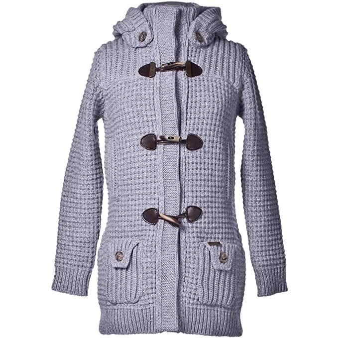 new style abc35 2bfc2 BARK Ladys Duffle Coat Knitted Light Grey: Amazon.it ...