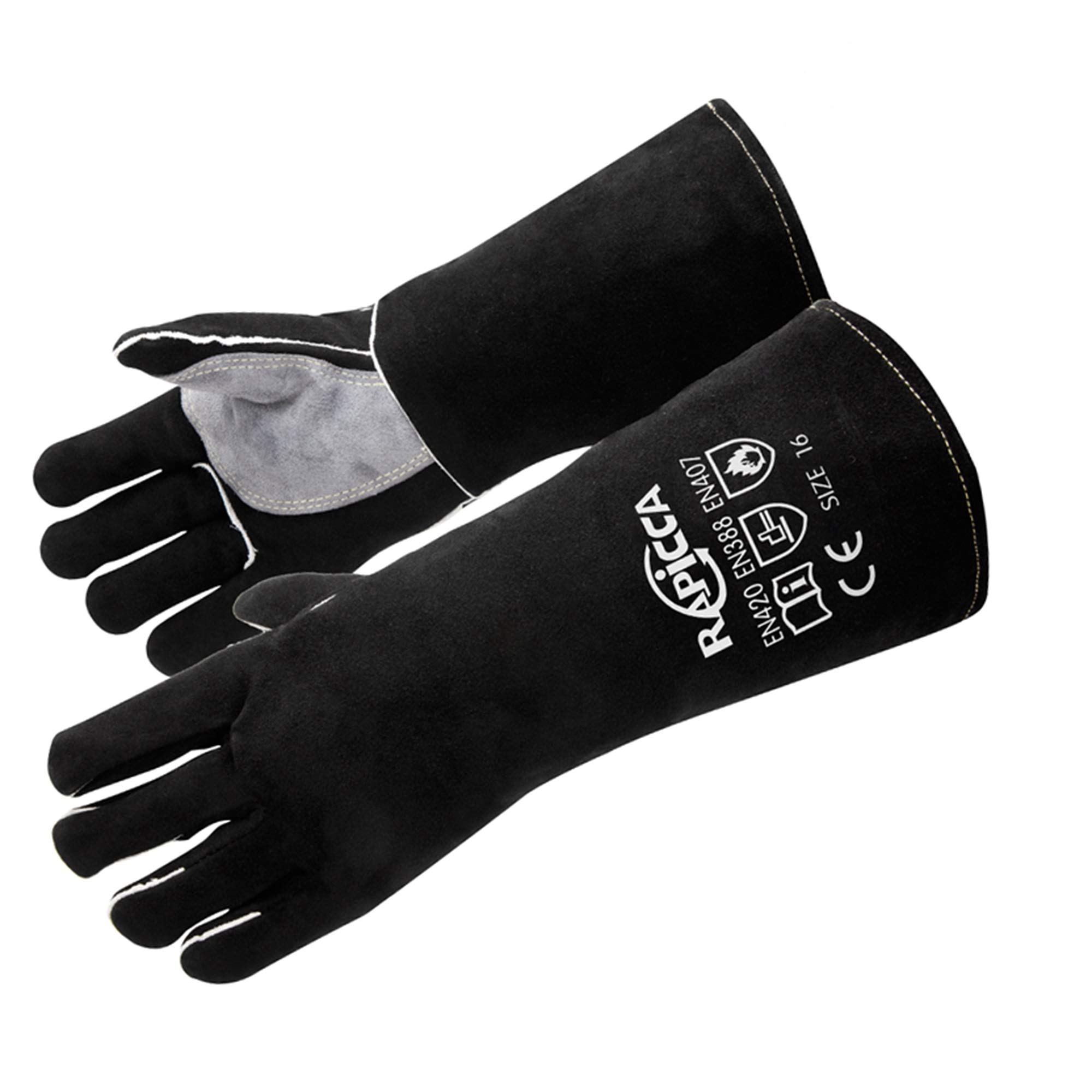 RAPICCA Extreme Heat & Fire Resistant Gloves Leather with Kevlar Stitching,Perfect for Fireplace, Stove, Oven Mitt, Grill Pit, Welding, Furnace,BBQ, Mig, Pot Holder, Animal Handling, Black-Grey14 Inch