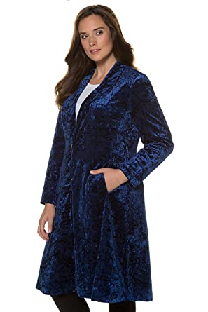 Ulla Popken Womens Plus Size Lined Velvet Long Dress Coat 713722 At