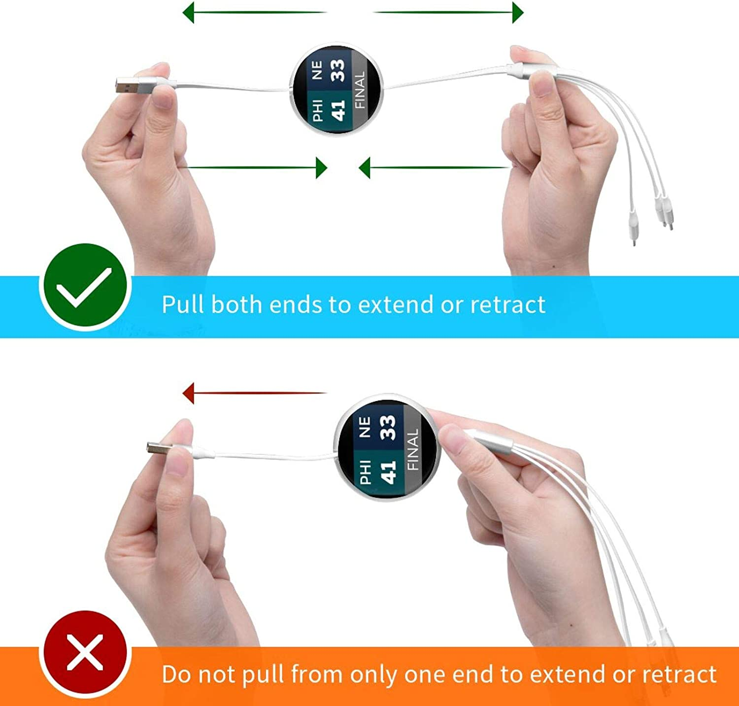 Multi Charging Cable Portable 3 in 1 Phi 41 Ne 33 USB Cable USB Power Cords for Cell Phone Tablets and More Devices Charging