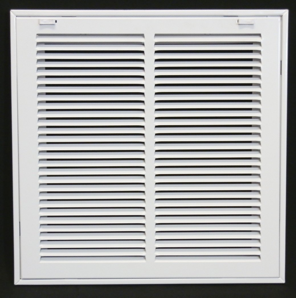 14'' X 14 Steel Return Air Filter Grille for 1'' Filter - Removable Face/Door - HVAC DUCT COVER - Flat Stamped Face - White [Outer Dimensions: 16.5''w X 16.5''h]