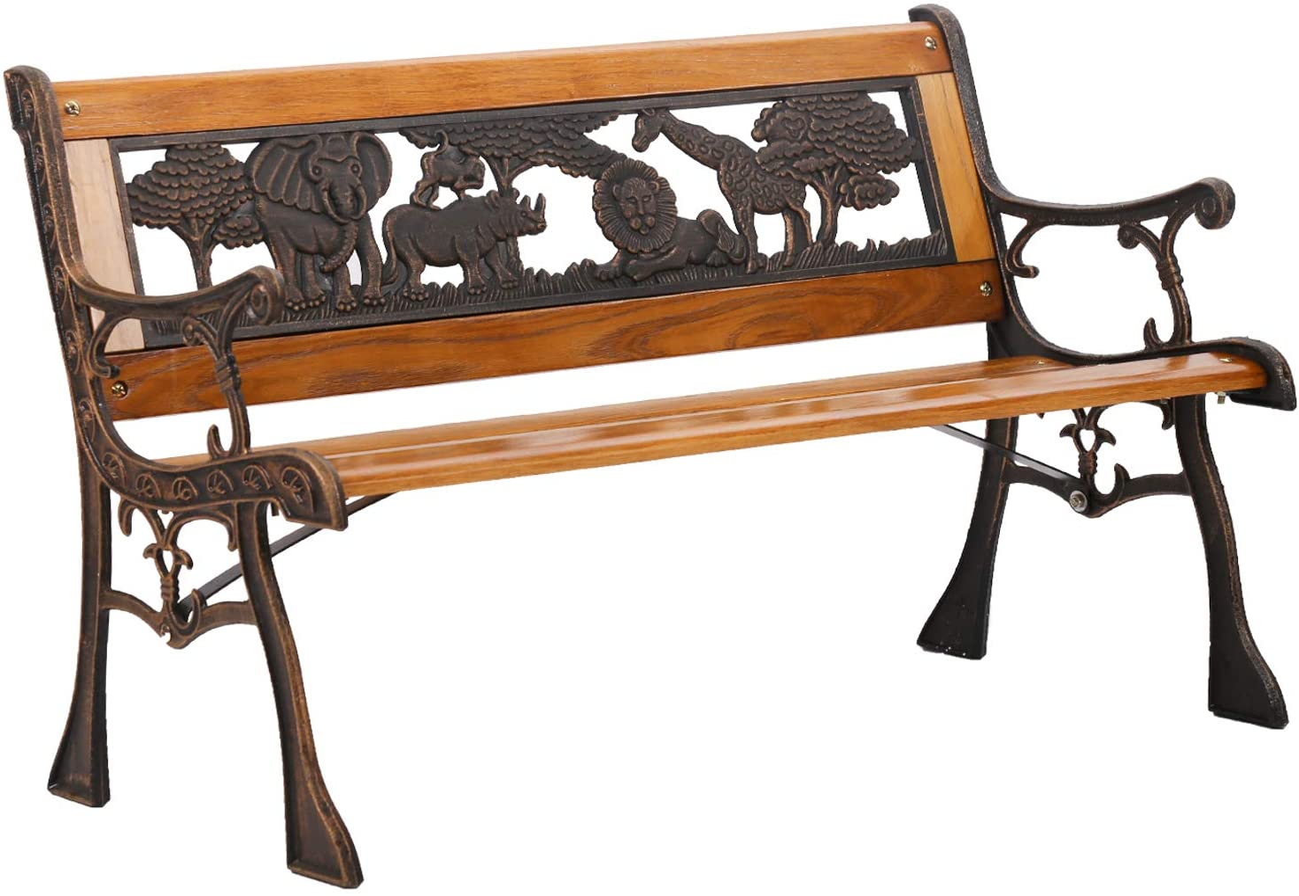 FDW Patio Garden Bench Park Porch Chair with Cast Iron Armrest Hardwood Furniture Animals Child's Bench