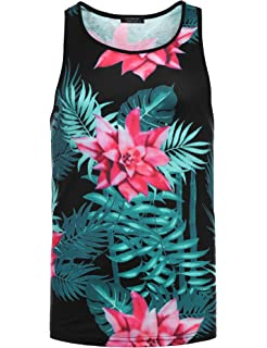 abbe890f441090 COOFANDY Men s Floral Fashion Sleeveless Tees All Over Print Casual Tank  Top Shirts
