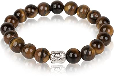 631db4297597 styleBREAKER pulsera de ónice ojo de tigre con perla de bisutería con cabeza  de Buda y goma elástica