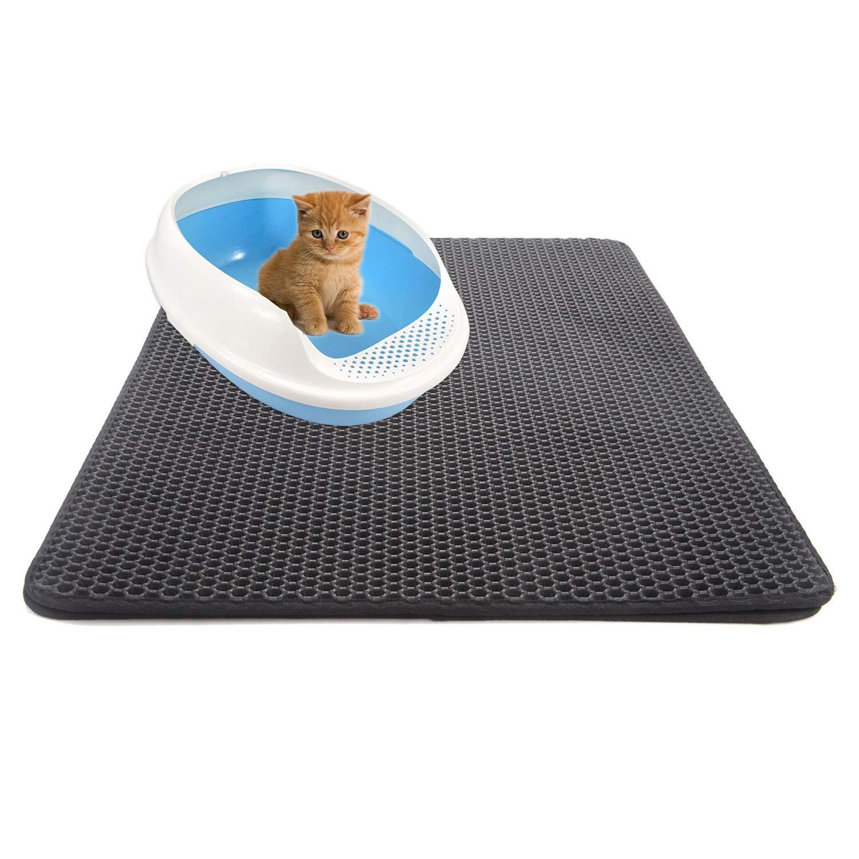 Cat Litter mat pet mat cat Litter mat cat Scratch pad Double cat Litter mat Litter mat cat Litter mat,Black,55x75cm
