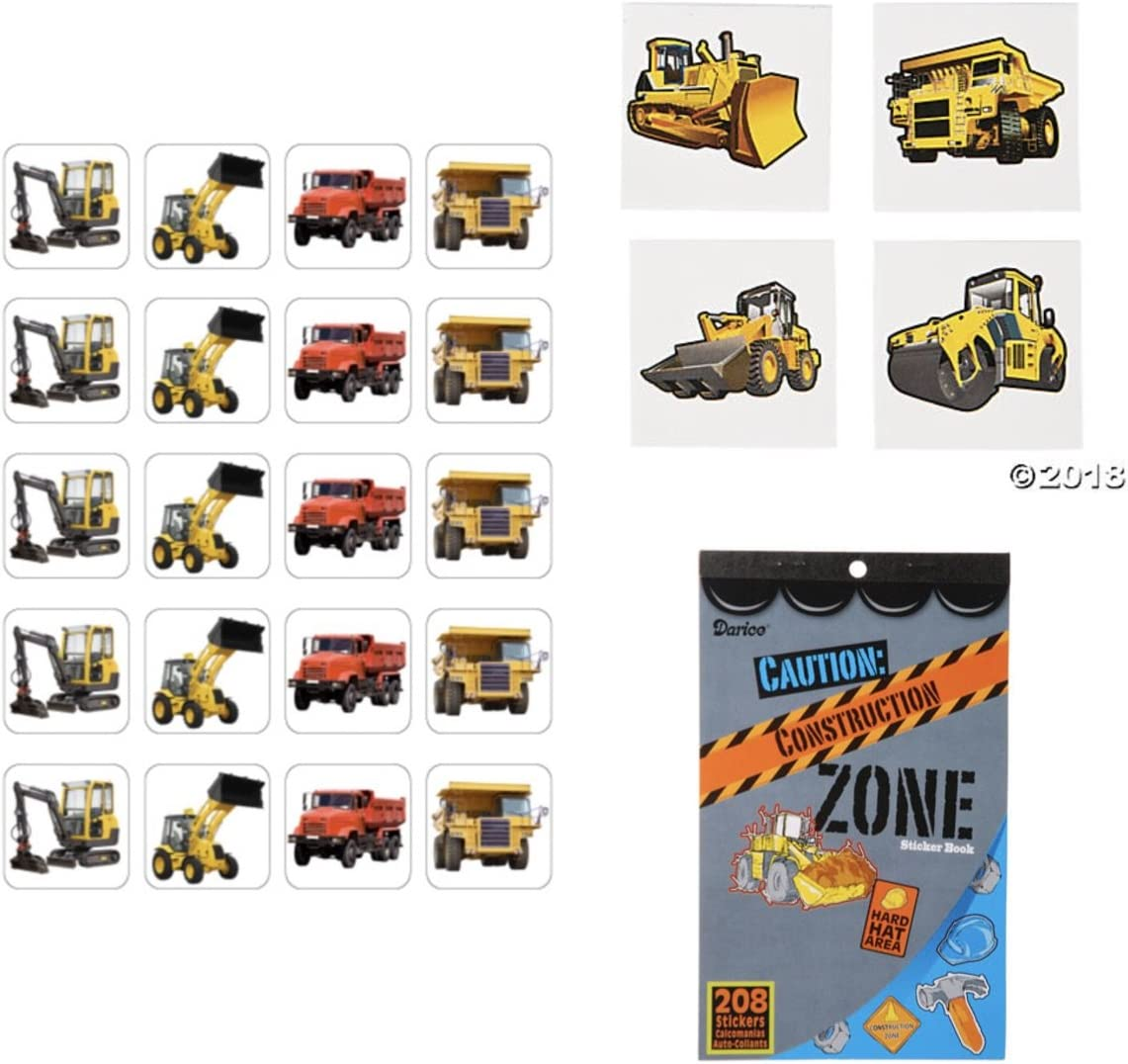 Construction Tattoos x 16 High Quality Truck Party Birthday Diggers Favours
