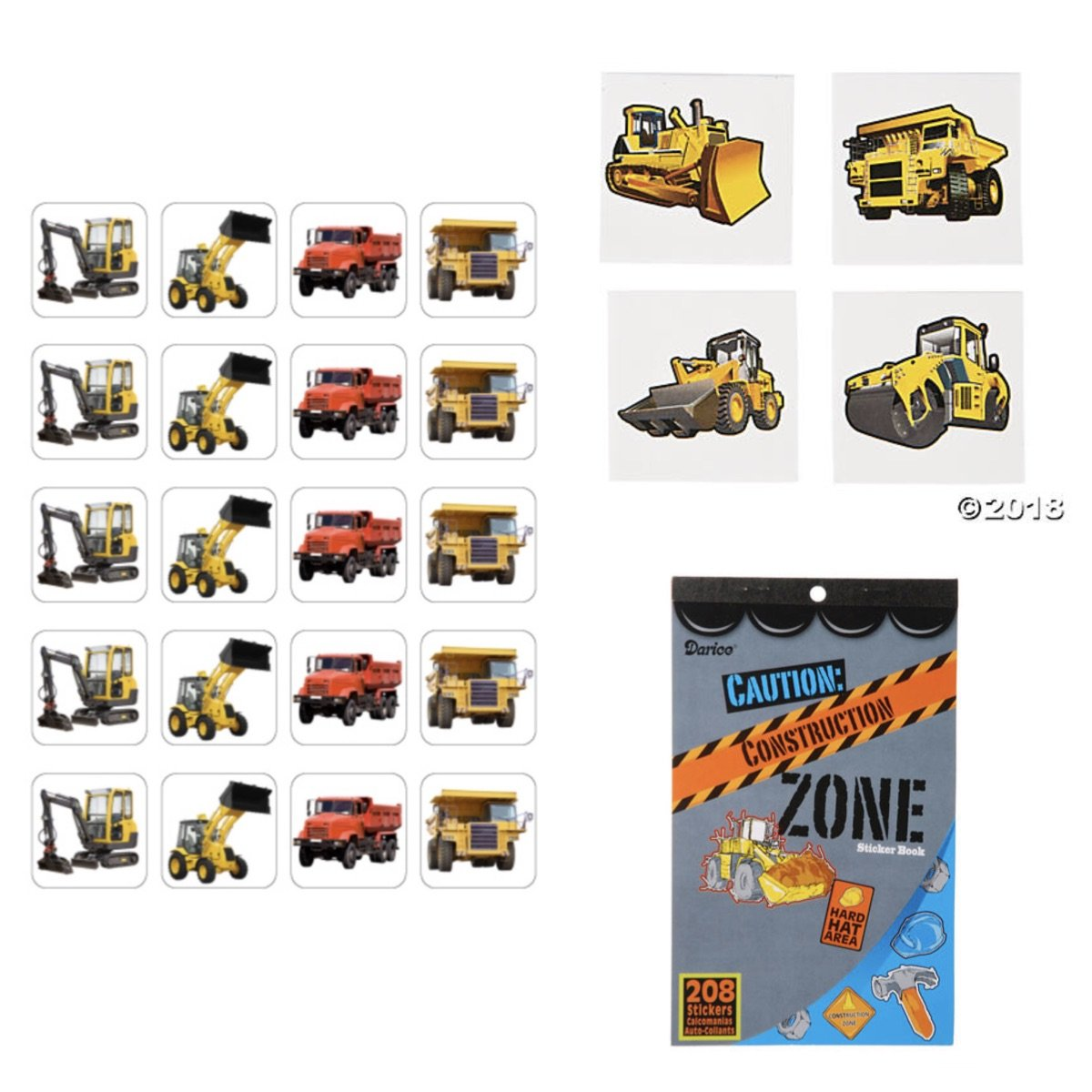 72 TATTOOS /& Sticker Book with 208 Stickers BOY Birthday PARTIES BULLDOZER Dump Truck BACKHOE Party Favors CLASSROOM Teacher Rewards CONSTRUCTION Truck PARTY Favors 120 PHOTO Stickers