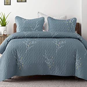 Exclusivo Mezcla Microfiber Queen Size Quilt Set, 3 Piece Lightweight Bedspread/ Coverlet/Bedding Set with 2 Shams, Floral Branches Pattern, (96