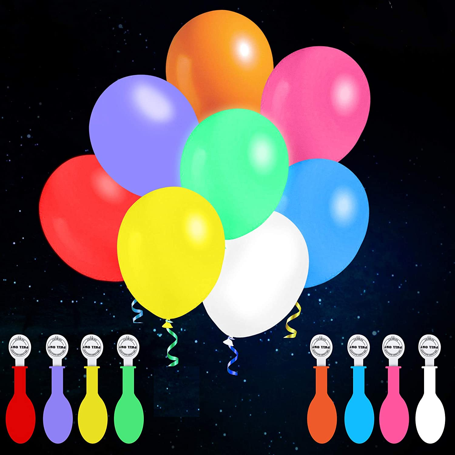 iFUNow 32 Pack LED Balloons Flashing, 8 Colors Light Up Balloons, Lasts 12-24 Hours for Glow in the Dark Party Supplies, Birthday Decorations, Halloween Party: Toys & Games