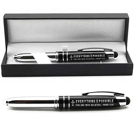 Mark 9:23 Engraved Bible Gift Pen with Flashlight and Stylus -