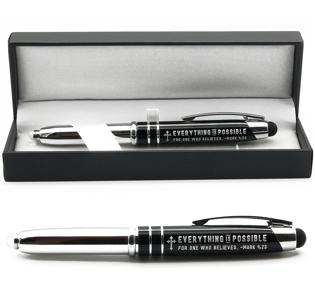 Mark 9:23 Engraved Bible Gift Pen with Flashlight and Stylus -''Everything is Possible for One Who Believes'' - Christian Religious Scripture Gifts for Men Women Pastors Ministers