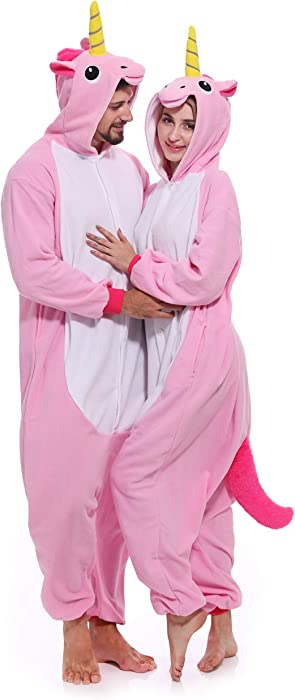 4697ba784f99 Unicorn Onesie Adult Pajamas Animal Halloween Costume One Piece Hoodie for  Women Men