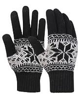 Novawo Unisex Knitted Snowflake Smart Phone Touch Screen Gloves Full Finger Mittens