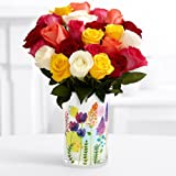 ProFlowers - 24 Count Multi-Colored Two Dozen Rainbow Roses w/Free Clear Vase - Flowers - Great for Mother's Day