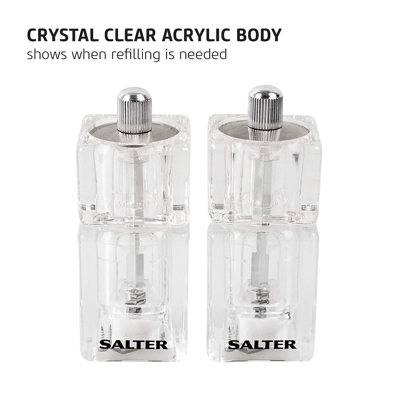 Clear Salter 7605 CLXR Mini moulins /à sel et /à Poivre Transparents