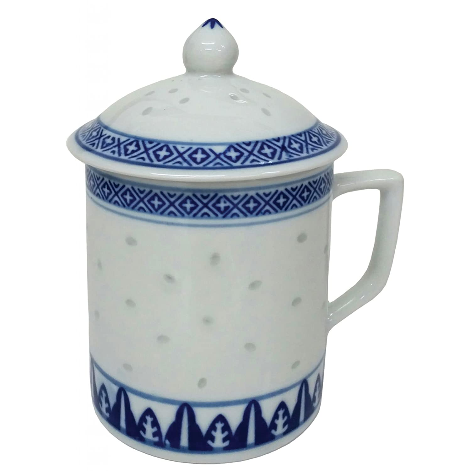 FSH268F Feng Shui Chinese Porcelain Mug Tea Cup with Lid: Rice Pattern