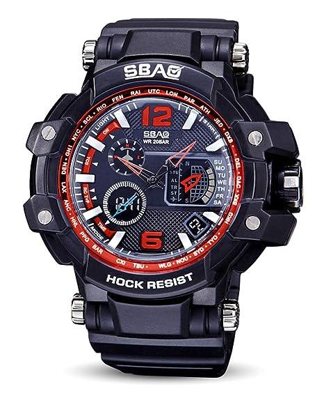 SBAO - Estudiante Reloj de Cuarzo para Hombres Chicos Relojes Electrónicos Impermeables Multifuncionales de Pantalla de Luz Fría: Amazon.es: Relojes