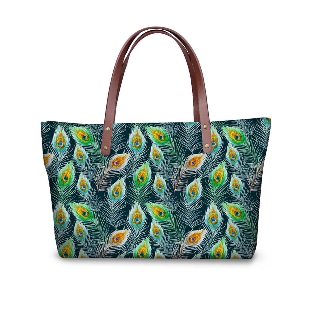 Oriental Style Feather Print Shoulder Bags for Women Casual Tote Bag Anti-theft