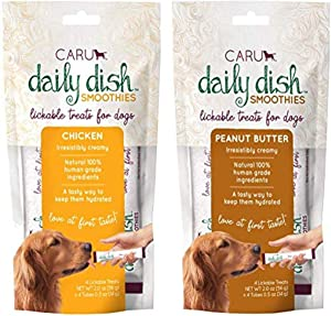 Caru Daily Dish Smoothies Lickable Treats for Dogs 8-Pack - Chicken(4) and Peanut Butter(4) Flavor - 100% Natural