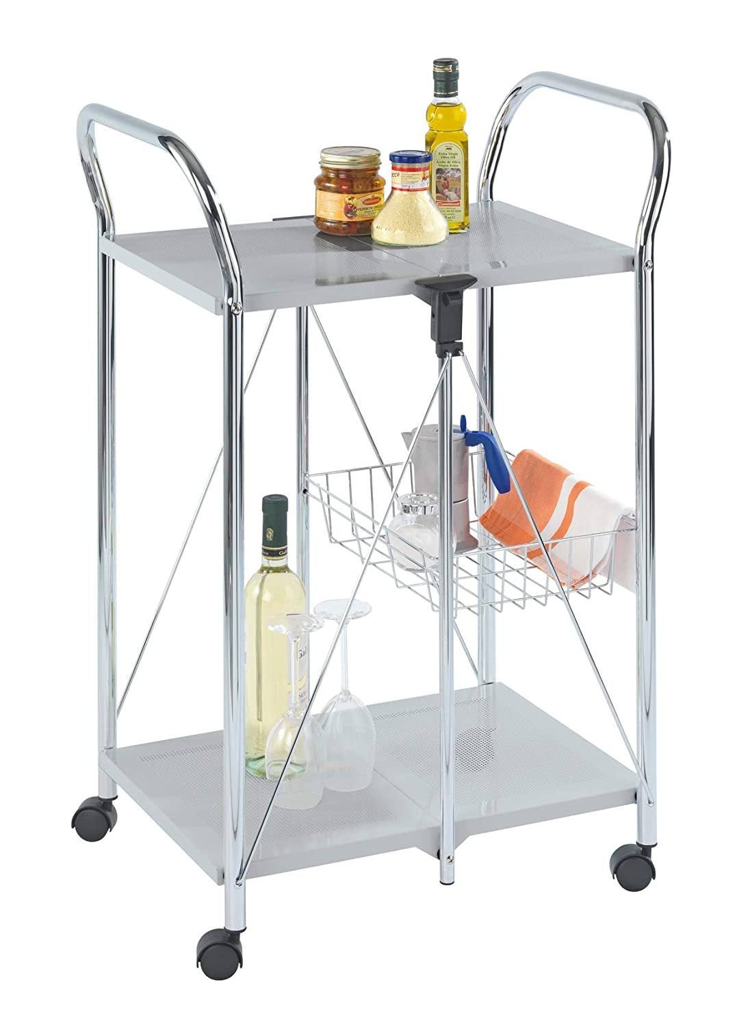 WENKO Kitchen and utility trolley Sunny silver, 60 x 90 x 44 Cm- foldable, Powder-coated metal, 22.2 x 35.6 x 17.3 inch, Silver/Chrome