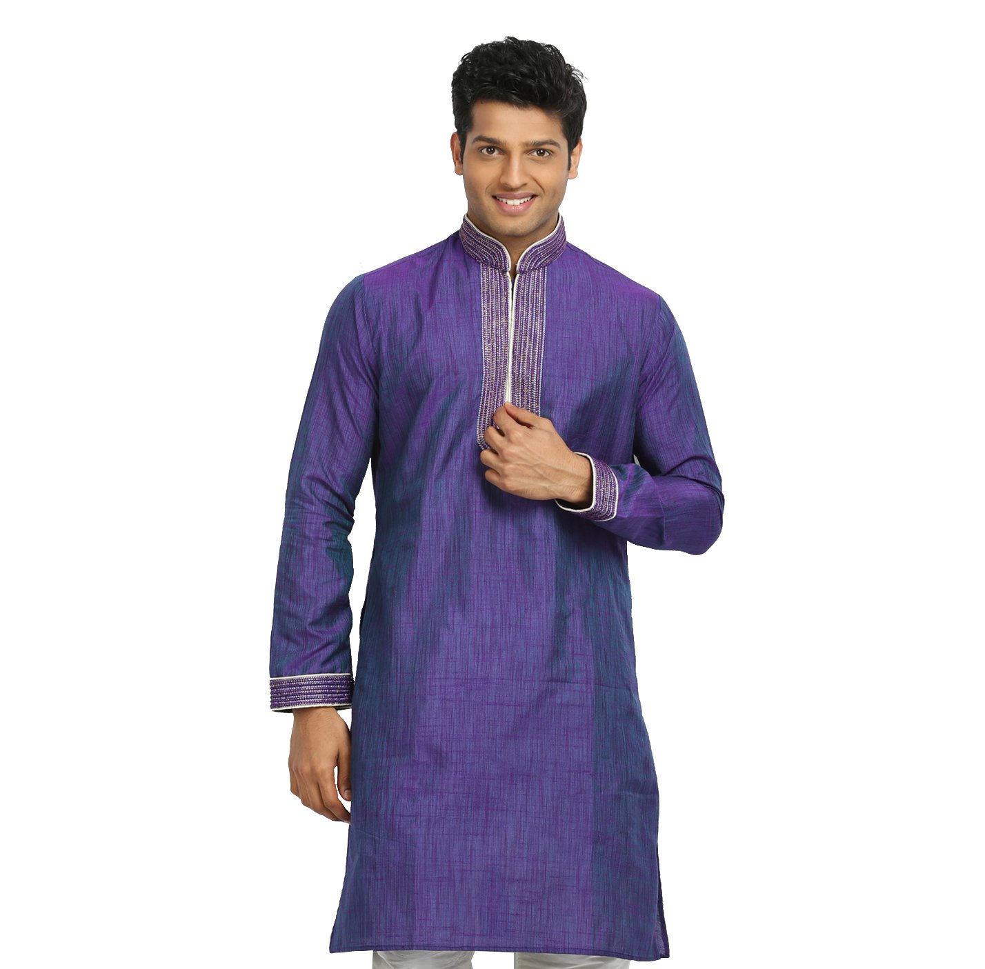 Saris and Things Purple Violet Cotton Linen Indian Kurta Pajama for Men by Saris and Things (Image #3)