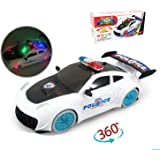ILOFUN LED Light Up 360 Action Spins Police Car Toys Truck with Flashing Light & Music On/Off for 3-12 Year Old Boys Kids - Battery Operated