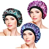 ASHILISIA 3 Pieces Soft Sleep Cap – Night Satin Bonnet with Wide Premium Elastic Band for Women