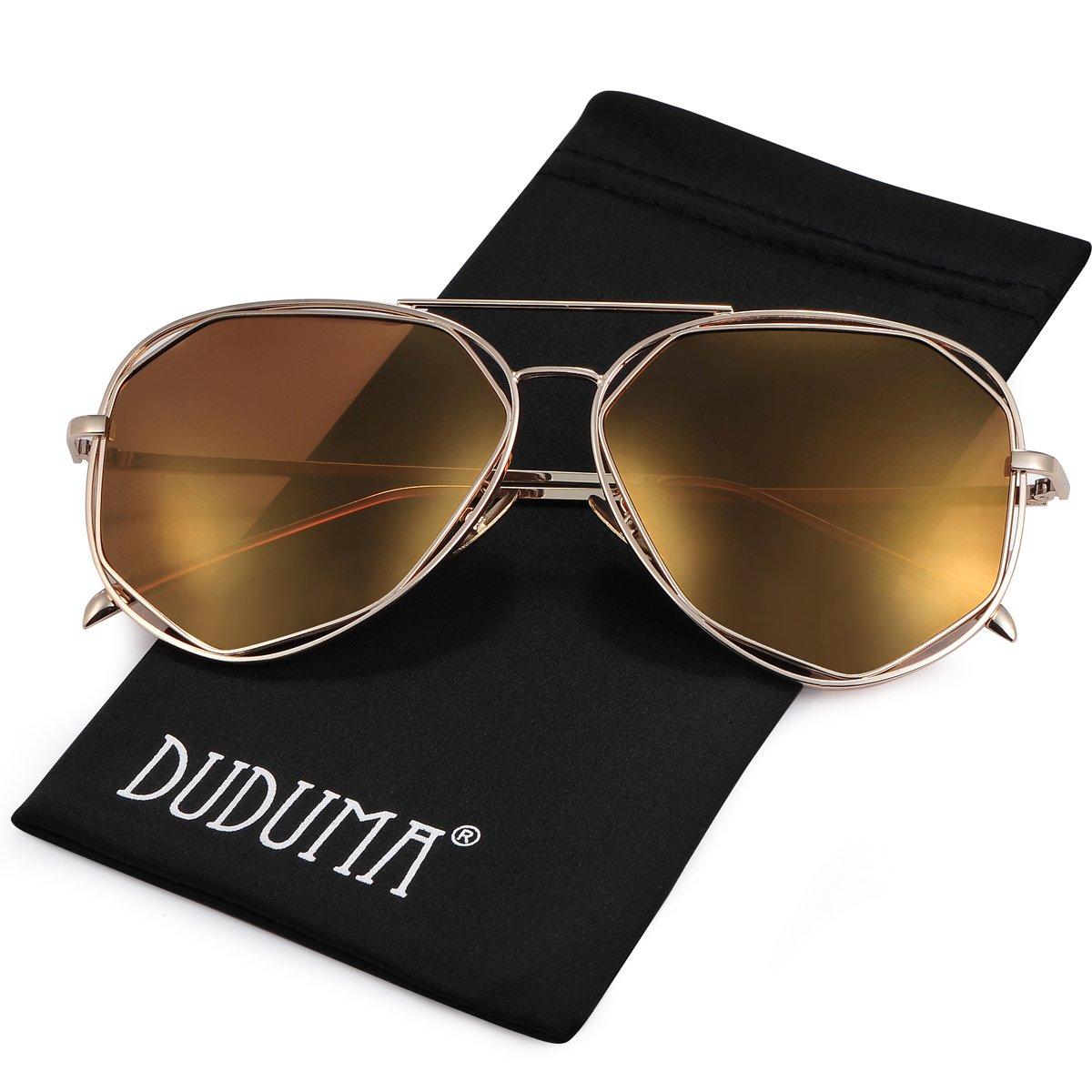 Duduma Gafas de Sol Aviador Polarizadas Manera con Lente Plana y el Marco del Metal Vintage Baratas para Mujeres y Hombres 0713