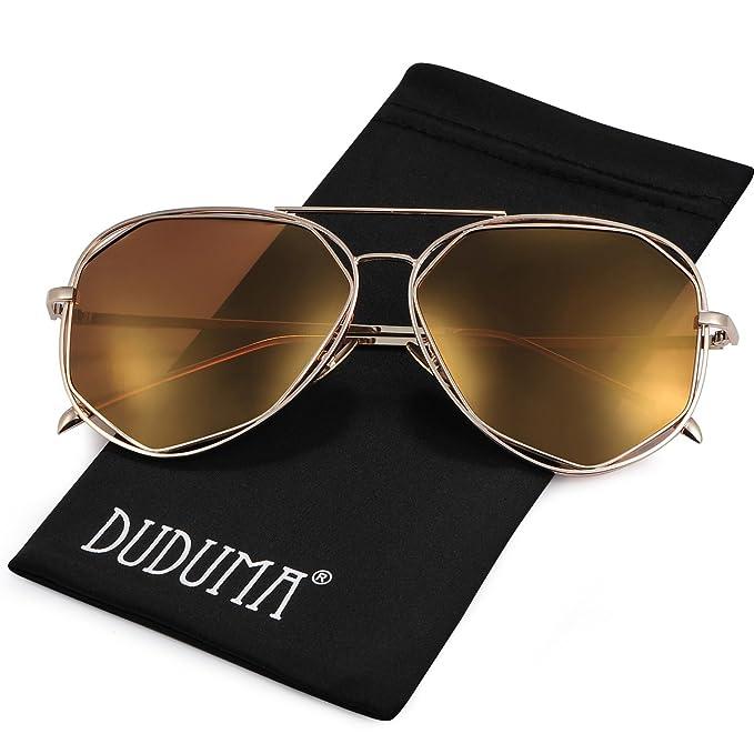 duduma Gafas de sol estilo aviador, polarizadas, con soporte de metal para las lentes