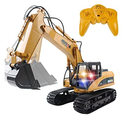 CrossRace Remote Control Excavator,15 Channel Full Functional RC Excavator Toy Toy Construction Tractor with Metal Shovel and Caterpillar: Toys & Games
