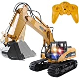 15 Channel 2.4G RC Alloy Crawler Excavator Electric Remote Control Full Functional Construction Digger Tractor Vehicle(with Lights and Sounds)