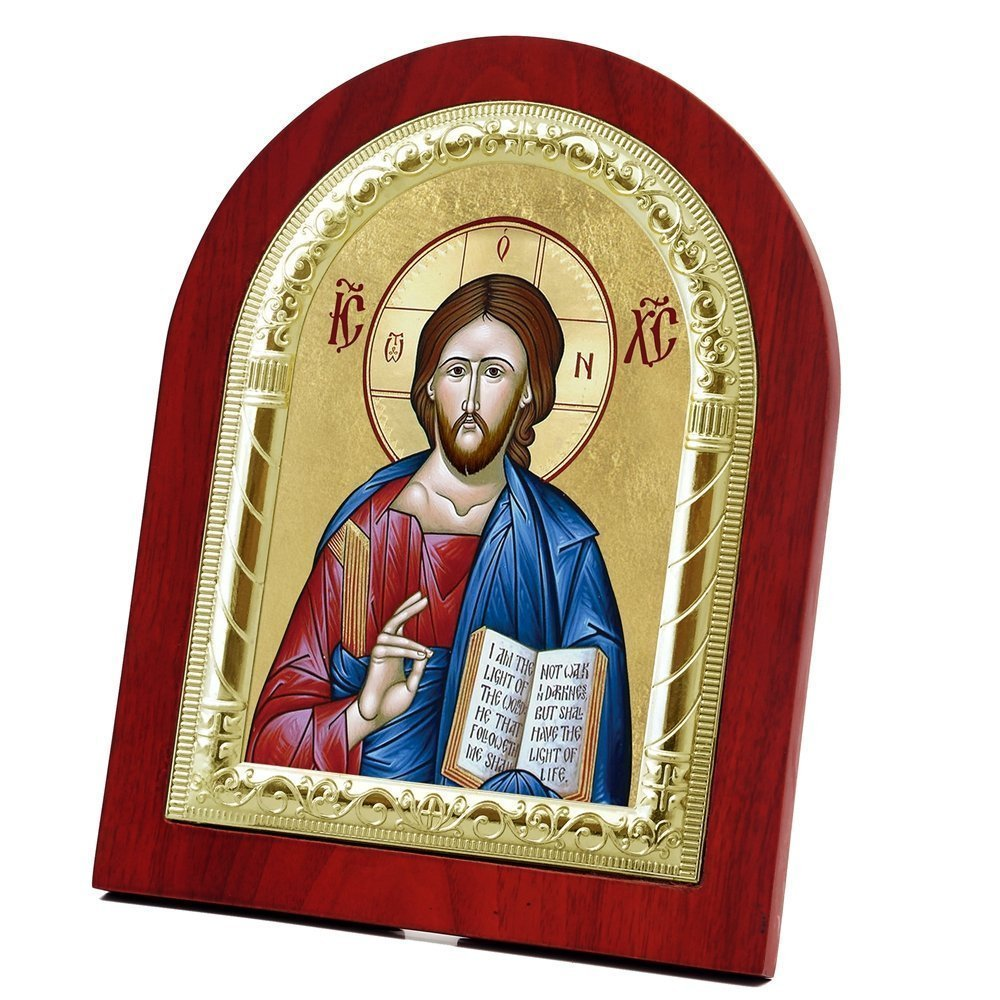 FengMicon Icon of Jesus Christ Wooden Back with Metal Trim Frame Christian Icon Catholic Gift