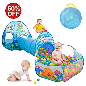 Kids Play Tent with Tunnel Ball Pit Play House for Boys Girls Babies  sc 1 st  Amazon.com & Amazon.com: Kids Play Tent with Tunnel Ball Pit Play House for ...