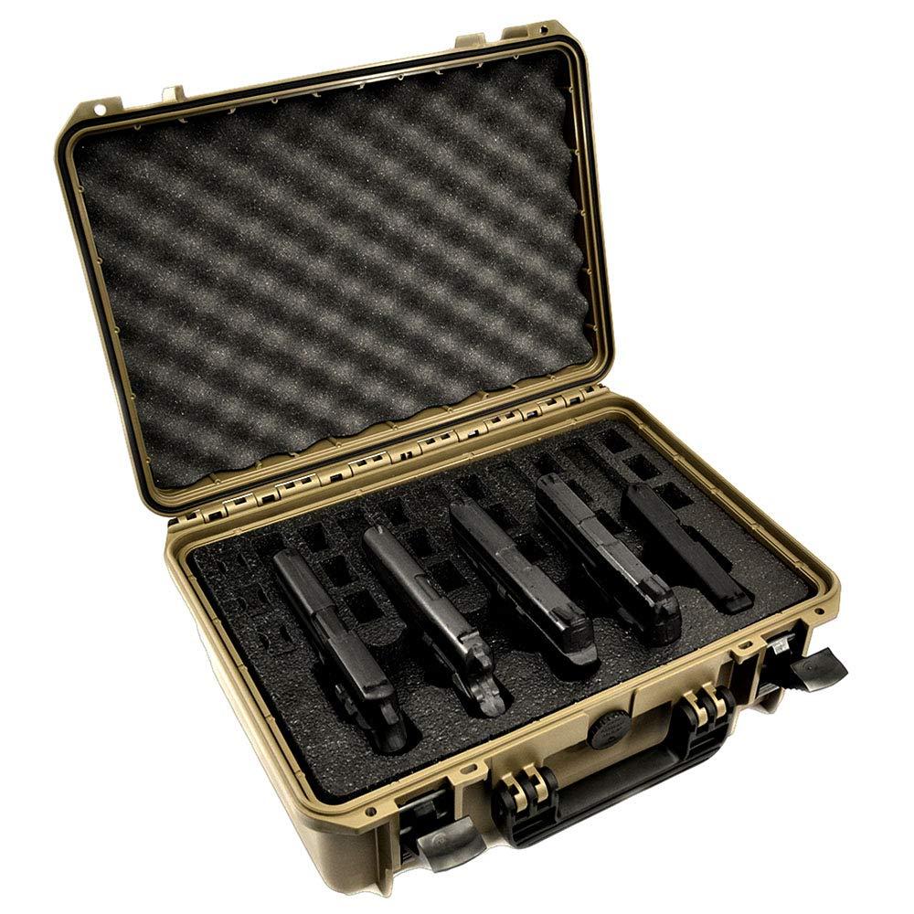 5 Pistol 18 Magazine Doro Waterproof Heavy Duty Gun Case with Custom MyCaseBuilder Foam Insert - Sahara Case with Black Foam by MY CASE BUILDER