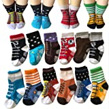Amazon Price History for:Todder 6 Pairs Non Sikd Shoe Socks Infant Baby Boy Anti Slip Cotton Cozy Ankle Low Cut Footsocks Sneakers Crew Walker Socks With Grips For 12-24 Months Kakalu