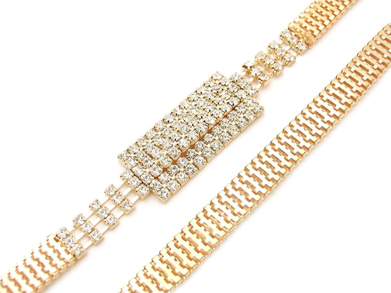 Rhinestone Rectangel Buckle Piece Snake Chain Belt in Gold Tone