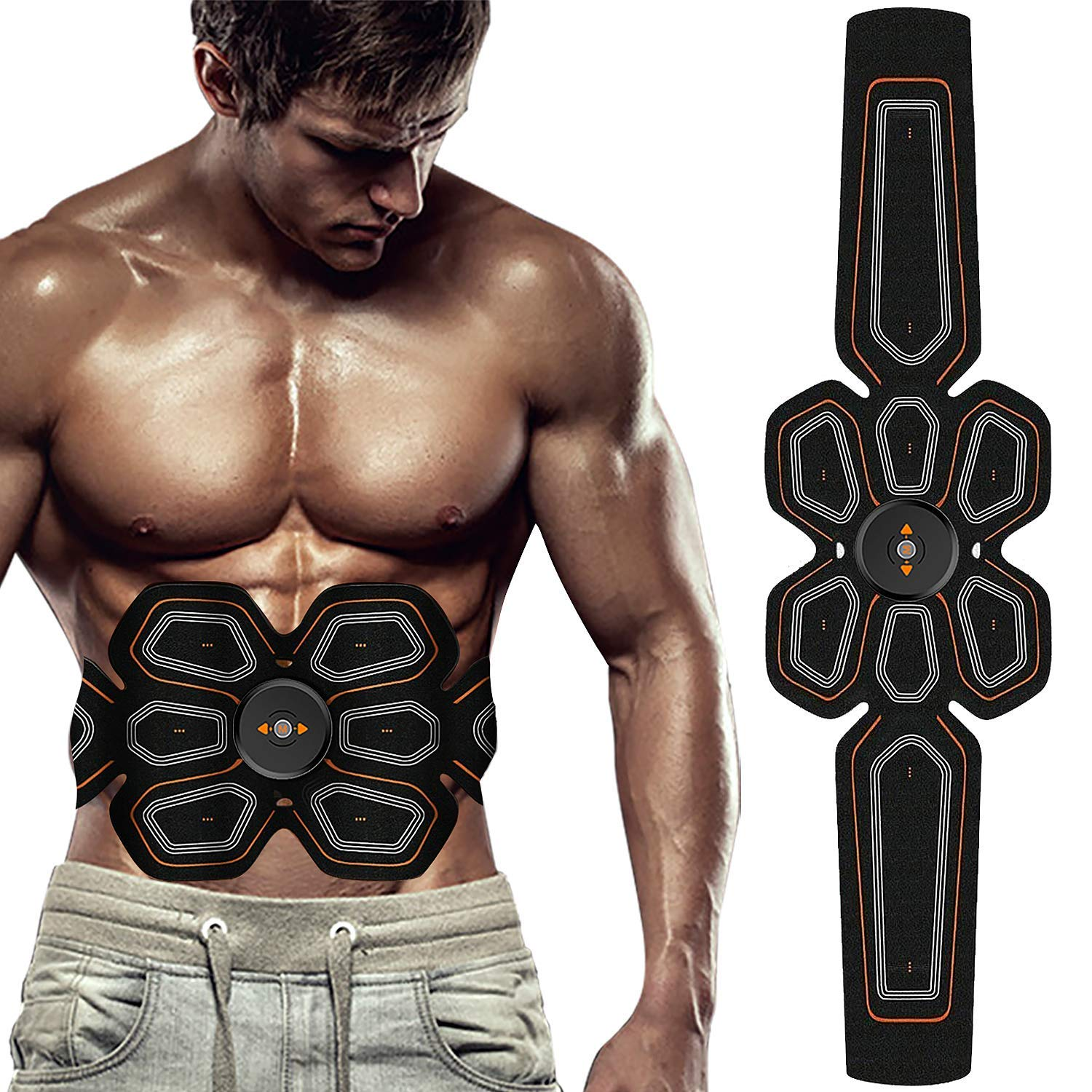 BLUE LOVE ABS Stimulator Muscle Toner Abdominal Toning Belt Workouts Portable EMS Training Home Office Fitness Equipment for Abdomen Arm Leg Training USB Charging