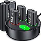 ESYWEN Pacote de bateria recarregável para Xbox Series X|S/Xbox One, 4 × 1200 mAh Kit de bateria recarregável e estação de ca